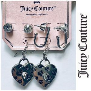 NWT Juicy couture 3 set Silver F Diamond Earrings